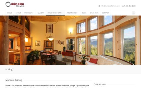 Screenshot of Pricing Page mandalahomes.com - Pricing | Mandala Homes - Prefab Round Homes • ENERGY STAR qualified builder • Timber Accents • Luxury Custom Designs • Circular Homes - captured Sept. 30, 2014