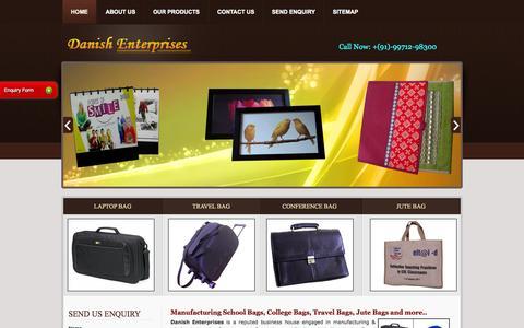 Screenshot of Home Page danishenterprises.biz - Luggage Bags,Laptop Bag,School Bag Manufacturers Delhi - captured June 21, 2015