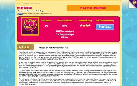 Screenshot of ohmybingo.com - Wow Bingo - £15 free and 300% deposit bonus - OhMyBingo - captured March 19, 2016