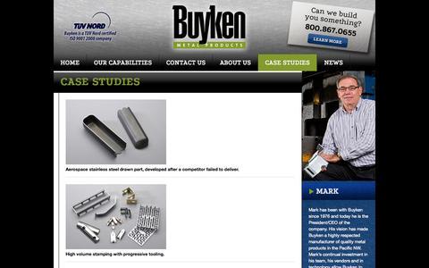 Screenshot of Case Studies Page buyken.com - Case Studies - Buyken Metal Products - CNC, Metal Fabrication, Quality, Kent Washington - captured Oct. 5, 2014