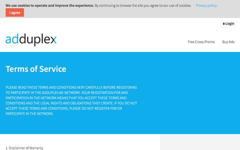 Screenshot of Terms Page adduplex.com - Terms of Service   AdDuplex - captured July 29, 2018