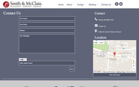 Screenshot of Contact Page smithmcclain.com - Contact Us - captured Feb. 15, 2016