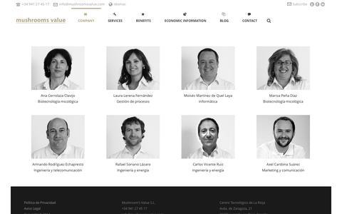 Screenshot of Team Page mushroomsvalue.com - Mushroom's Value   –  Nuestro equipo - captured Nov. 5, 2014
