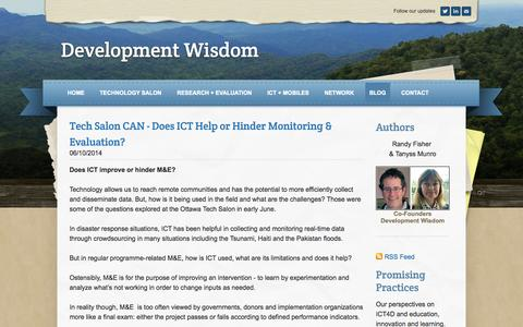 Screenshot of Blog weebly.com - Development Wisdom - Blog - The Latest News & Events from Technology Salon Canada, ICT4D, Technology, Education and Entrepreneurship - captured Sept. 17, 2014