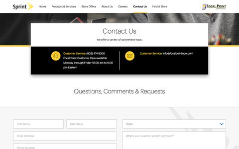 Screenshot of Contact Page sprint.com - Contact Us | FOCAL POINT COMMUNICATION - captured Oct. 14, 2017