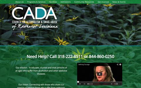 Screenshot of Services Page cadanwla.org - Council on Alcoholism & Drug Abuse of Northwest Louisiana | Healing, Hope, and Happiness from addiction and despair - captured Oct. 8, 2014
