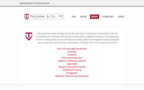 Screenshot of Services Page thetricorne.com - Services - Tricorne & Co., PC - captured Oct. 7, 2014