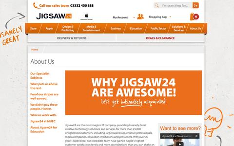 Screenshot of About Page jigsaw24.com - About Us  | Jigsaw24 - captured Sept. 16, 2014