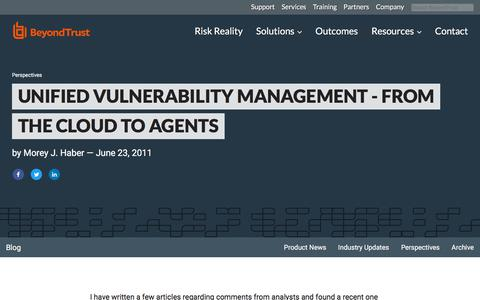 Screenshot of Team Page beyondtrust.com - Unified Vulnerability Management - From The Cloud to Agents | BeyondTrust - captured Jan. 3, 2020