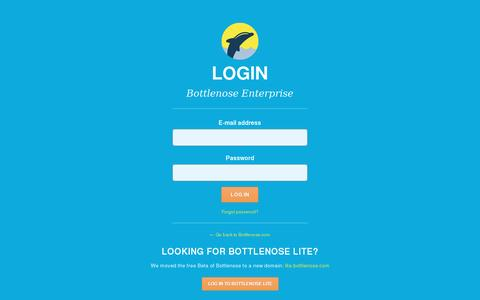Screenshot of Login Page bottlenose.com - Login | Bottlenose - captured July 21, 2014