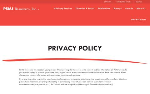 Screenshot of Privacy Page psmj.com - Privacy Policy - PSMJ - captured July 10, 2017