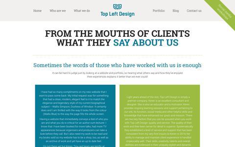 Screenshot of Testimonials Page topleftdesign.com - Testimonials - Top Left Design - captured Aug. 27, 2016