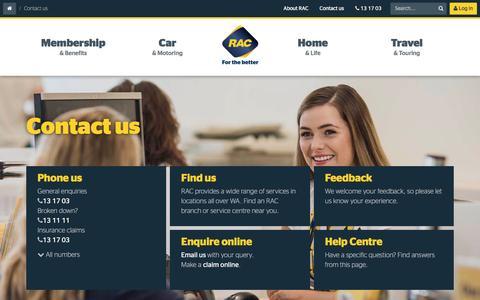 Screenshot of Contact Page rac.com.au - Contact Us | RAC WA - captured Nov. 28, 2016