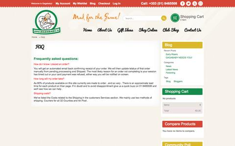 Screenshot of FAQ Page gagababy.ie - FAQ - captured Oct. 1, 2014