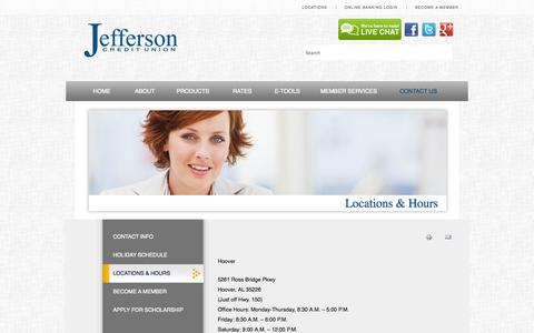 Screenshot of Locations Page Hours Page jeffersoncreditunion.org - Jefferson Credit Union - Locations & Hours - captured Oct. 23, 2014