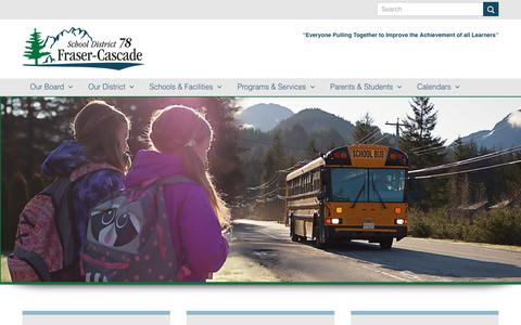 Screenshot of Home Page sd78.bc.ca - Fraser Cascade School District 78 – SD78 Board of Education - captured Oct. 2, 2018