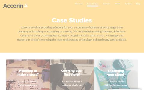 Screenshot of Case Studies Page accorin.com - Accorin Case Studies | Magento and Shopify Examples - captured Nov. 6, 2018