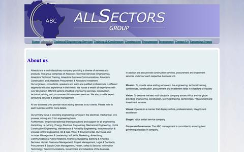 Screenshot of About Page allsectors.co.za captured Feb. 5, 2016