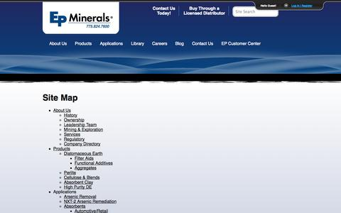 Screenshot of Site Map Page epminerals.com - Site Map | EP Minerals - captured Sept. 26, 2014
