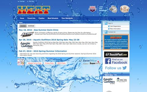 Screenshot of Press Page teamunify.com - HEAT- Hudson Explorers Aquatics Team : News - captured May 22, 2016