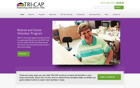 Screenshot of Home Page tri-cap.net - TRI-CAP - Helping People. Changing Lives. - captured Feb. 25, 2016
