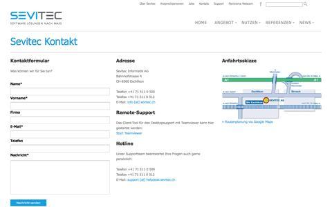 Screenshot of Support Page sevitec.ch - Sevitec Informatik AG - Kontakt - captured Jan. 23, 2016