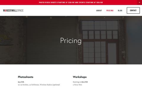 Screenshot of Pricing Page wanderwallspace.com - Wanderwall Space - captured May 30, 2016