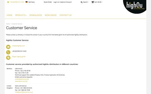 Screenshot of Support Page highqu.com - highQu GmbH |  Customer Service - captured Oct. 3, 2014