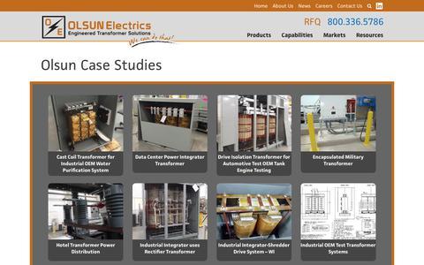 Screenshot of Case Studies Page olsun.com - Case Studies Archives - Olsun Electrics - captured July 29, 2017