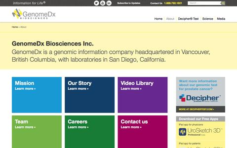 Screenshot of About Page genomedx.com - About GenomeDx Biosciences Inc. - captured Nov. 5, 2016