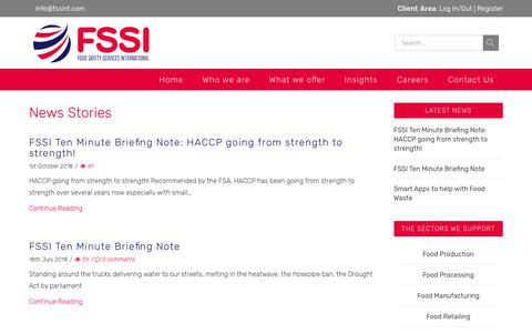 Screenshot of Press Page fssint.com - News - Food Safety Services International Group (UK) Ltd - captured Nov. 14, 2018