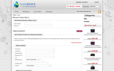 Screenshot of Login Page temtecrecruitment.co.uk - Login :  Lowest Price Bags and Footwear outlet - Boat shoes,Chelsea boots,Desert boots,Moccasins UK Online - captured Dec. 14, 2016