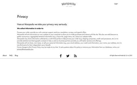 Screenshot of Privacy Page manpacks.com - Manpacks respects your privacys - captured Dec. 9, 2015