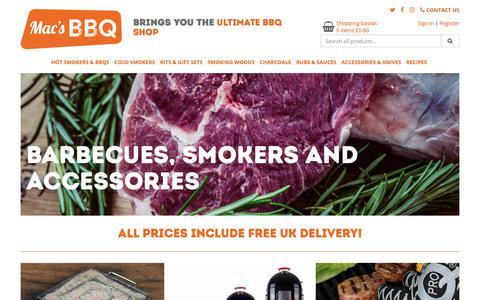 Screenshot of Home Page macsbbq.com - The Ultimate BBQ Shop - Macs BBQ - captured Sept. 30, 2018