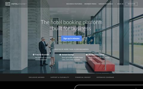 Screenshot of Home Page hotelengine.com - Save up to 60% off public hotel rates | Hotel Engine - captured May 21, 2017