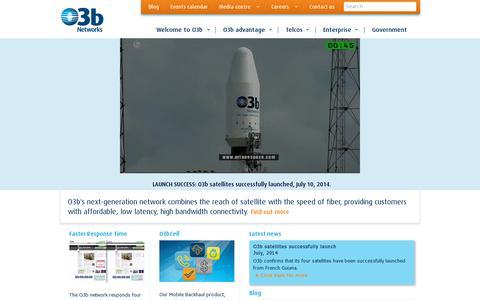 Screenshot of Home Page o3bnetworks.com - Homepage - O3b Networks - captured July 11, 2014