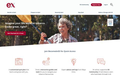 Screenshot of Home Page becomeanex.org - Become An EX Smoker, Learn to Quit Smoking, Stop Smoking Cigarettes - captured Oct. 28, 2017