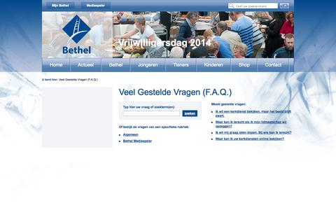 Screenshot of FAQ Page bethel.nl - Veel Gestelde Vragen (F.A.Q.) - captured Oct. 26, 2014
