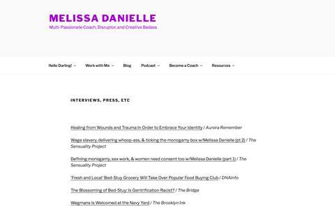 Screenshot of Press Page melissadanielle.com - Interviews, Press, Etc | Melissa Danielle - captured Feb. 16, 2018
