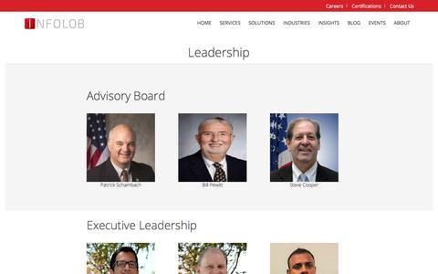 Screenshot of Team Page infolob.com - Leadership - Infolob - Oracle Platinum Partner and Exadata Experts - captured July 15, 2018