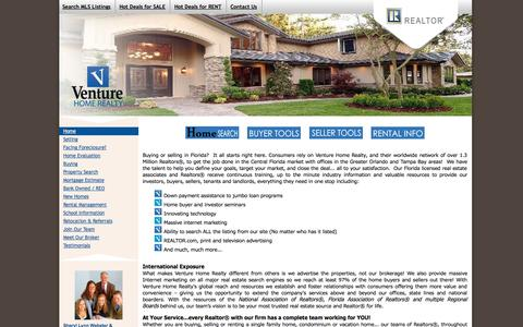 Screenshot of Home Page venturehomerealty.com - Tampa Bay & Greater Orlando Florida Real Estate Firm | Sales | Rentals | Property Management | Homes | Estates | Condos - captured Oct. 6, 2014