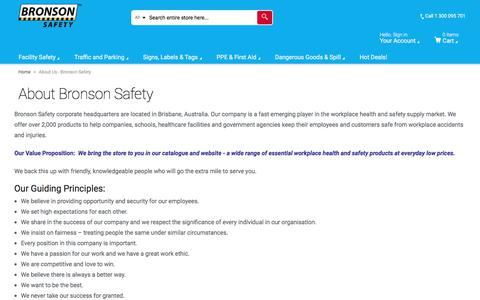 Screenshot of About Page bronsonsafety.com.au - About Us - Bronson Safety - captured June 3, 2017