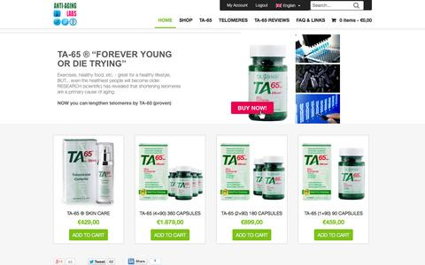 Screenshot of Home Page anti-aging-labs.com - Anti-Aging Products and TA-65 at Anti-Aging Labs - captured Sept. 25, 2014