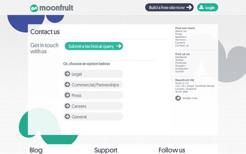 Screenshot of Contact Page moonfruit.com - Contact Us   Submit A Technical Query To Moonfruit - captured June 17, 2015
