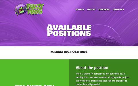 Screenshot of Jobs Page fuzzy-frog.com - Careers | Fuzzy Frog Ltd - captured Oct. 14, 2017