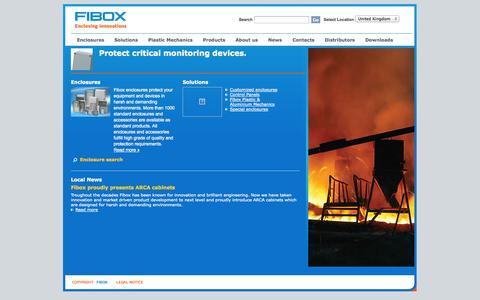 Screenshot of Home Page fibox.co.uk - Front Page   Fibox enclosures - captured Oct. 5, 2014