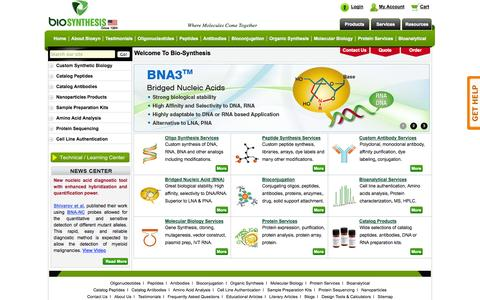Screenshot of Home Page biosyn.com - Bio-Synthesis Inc, Life Sciences Service Provider for Biomic Research - captured Oct. 5, 2014