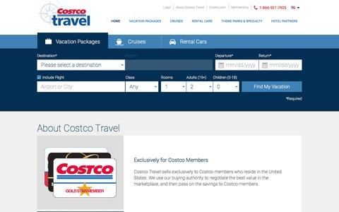 Screenshot of About Page costcotravel.com - Costco Travel - captured April 17, 2017