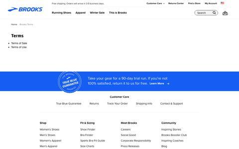 Screenshot of Terms Page brooksrunning.com - Brooks Terms - captured Jan. 18, 2020
