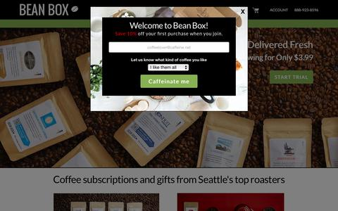 Screenshot of Home Page beanbox.co - Coffee Subscriptions and Gifts from Seattle | Bean Box - captured Feb. 15, 2018